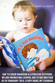 That must have been really  good behavior because Annie from  Annie Helen Photography 's son got lucky enough to score a little sibling. Posing him with a book is a genius way to share the big news!
