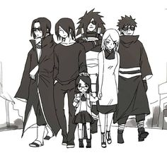 La familia de Sasuke con los guardaespaldas de Madara, Itachi y Obito