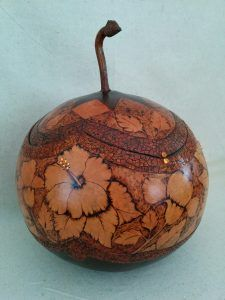 Wood burned with eggshell mosaic gourd by Debra maerz
