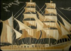 Sailing Ship  Tallship Handmade with dried leaves of rice straw by museumshop, $39.00  COLLECTIBLE leaf art for your wall