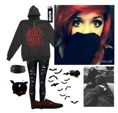 """Red and Black"" by emokittyyy ❤ liked on Polyvore featuring Vans and Forever 21"