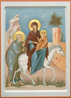 Order a painted icon of the Flight into Egypt. Icon painting studio of St Elisabeth Convent will paint an Orthodox Icon of any size and difficulty Religious Icons, Religious Images, Religious Art, Byzantine Icons, Byzantine Art, Greek Icons, Paint Icon, Religion, Russian Icons
