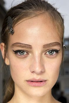 Backstage Beauty At Prada S/S 2015 // #brows #wingedliner #model