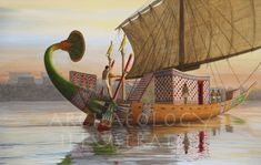 Reconstruction of a Nile Boat as it Would Have Appeared in the New Kingdom – Archaeology Illustrated Old Egypt, Ancient Egypt, Egyptian Kings, Bible Images, Valley Of The Kings, History Photos, African History, Ancient Civilizations, Archaeology
