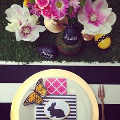 Modern Easter table setting by House of Creative Designs. Chalkboard plastic eggs for name cards.