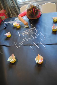 You Are My Sunshine party - kids table with chalk