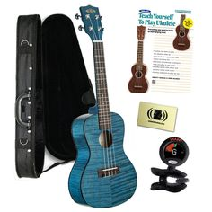 Kala KA-CEMBK2 Concert Transparent Blue Satin/ Exotic Mahogany Ukulele Bundle with Polyfoam Case, Tuner, Alfred's Teach Yourself to Play Ukulele C-Tuning Edition with DVD, and Polishing Cloth