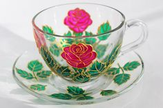 Pink roses Tea set Flowers Cup and saucer Hand Painted tea set tea cup set Hand Painted cup Funny Flowers mug Gift for Her Coffee Mug