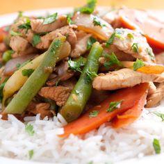 Chicken Stir-Fry with Peanut Sauce Over Rice