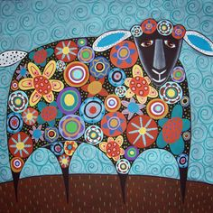 Blooming Sheep Folk Art Karla Gerard Canvas by KarlaGerardFolkArt,