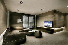 LODZ // HOME INTERIORS // 570m2 | KUOO ARCHITECTS – architektura i architektura wnętrz Audio Room, Lounge Areas, Home Theater, Contemporary Interior Design, Living Room Interior, Living Room Designs, Living Area, Home Deco, Interior Architecture