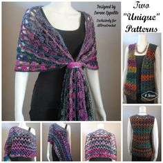 """Two """"Unique"""" Patterns- FREE Crochet Patterns for Multi Wear Lace Wrap and Shell Vest in four sizes!"""
