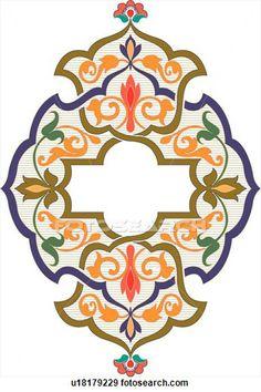 Clip Art of Blue, orange and green design ornament