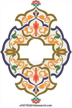 Clip Art of Blue, orange and green design ornament