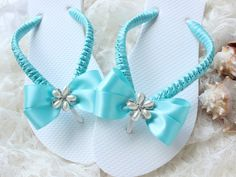 Wedding shoes low heel/FLAT flip flops AQUA por AdrianaSantosBridal