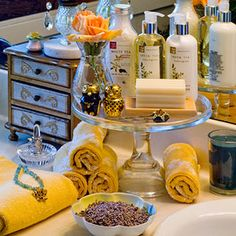 Give your bath decor a lift with a footed cake plate.