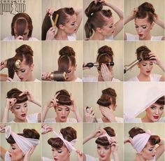 Pinup - İnteresting Hair İdeas Here 1950s Hairstyles, Bandana Hairstyles, Vintage Hairstyles, Girl Hairstyles, Easy Hairstyles, Wedding Hairstyles, Updo Hairstyle, Rockabilly Hair Tutorials, Ballroom Hair