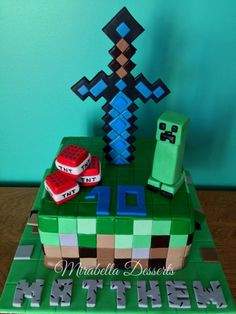 Here is the cake I made for my Minecraft-obsessed son's 10th birthday. Although I was really dreading taking this on, in the end it wasn't so bad. I actually found making and placing all those squares to be strangely relaxing. My son and I worked...