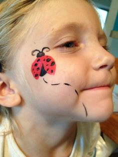 Face Paint Mehron Brittany Battaglia Lady bug - New Sites Ladybug Face Paint, Fox Face Paint, Batman Face Paint, Easter Face Paint, Face Paint Makeup, Easy Face Painting Designs, Face Painting Images, Face Painting For Boys, Face Painting Tutorials