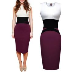 Save $33.62 on Miusol Celebrity Midi Contrast Bodycon Pencil Evening Dress; only $16.37