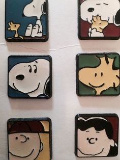 Vintage Peanuts Gang Snoopy Lucy Charlie Brown Button Covers NOS New Old Stock