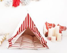 Bright yellow dog teepee tent for pet by DogAndTeepee on Etsy