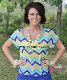 SALE Hello Darlin' Mint and Yellow Sheer Top FINAL $17.47 www.gugonline.com