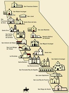 Map of California Missions Built between 1769 and 1823 ...