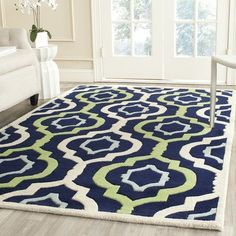 Safavieh Handmade Chatham Filomena Modern Wool Rug x - Dark Blue/Multi) Wool Area Rugs, Beige Area Rugs, Wool Rugs, Outdoor Area Rugs, Contemporary Rugs, Online Home Decor Stores, Online Shopping, Bed Furniture, Carpet Runner