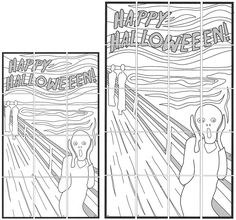 """Here's a fun way to combine a little art history with the Halloween season. I simplified Edvard Munch's """"The Scream"""" painting for young ones to color, and added a message on top. NOTE: I used my favorite Portfolio brand oil pastels in my sample. PDF FILE INCLUDES: • 20 page version • 12 page version Assembly … Read More"""