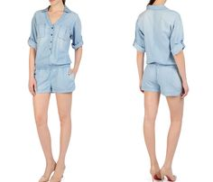 (3) The Paradise Chambray All In One Cove One Piece Playsuit Romper - AG Jeans Womens Made in Denim ShirtDress & Chambray Rompers Top Picks - Adriano Goldschmied One Piece Shirtalls & Playsuits