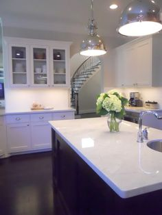 Lighting, counters, curved staircase