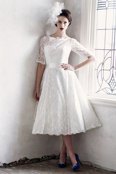 Charlotte Balbier's Decade of Style & 2015 Iscoyd Park Collection | weddingsonline Strapless Lace Wedding Dress, Tea Length Wedding Dress, Tea Length Dresses, Wedding Dress Sleeves, Lace Sleeves, Dress Lace, Plus Size Wedding Dresses With Sleeves, Bridesmaid Dresses With Sleeves, Bridesmaid Dresses Plus Size