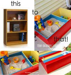 DIY Sand Box From An Old Book Case ..........http://diyfunideas.com ==========THE BEST DIY SITE EVER!