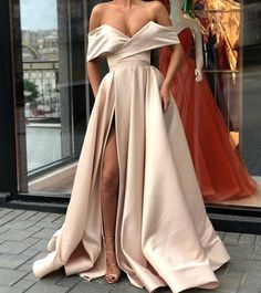 2018 Sexy Satin A-line Off the Shoulder Formal Occasion Dress with Slit Prom Dresses GE5284 from Ulass