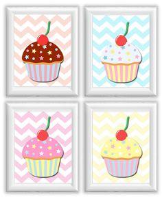 Nursery Art Child Baby Art Cute Cupcakes Print Set of 4 Kids Room Wall Art Decor