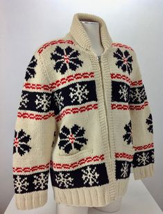 1940'S-50'S COWICHAN Zip-Up Cardigan Sweater / Hand Knitted / All WOOL / Men's XLarge Cowichan Sweater, Sweater Cardigan, Men Sweater, Sweater Patterns, Knitting Patterns, Vintage Clothing, Vintage Outfits, Warm Sweaters, 1940s