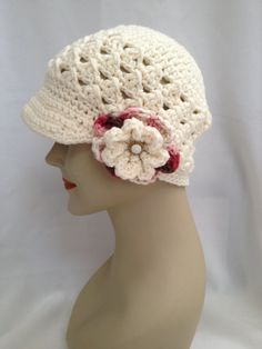 Crochet Beanie  Cross Cluster Newsboy with by NydiaFierroDesigns, $22.00