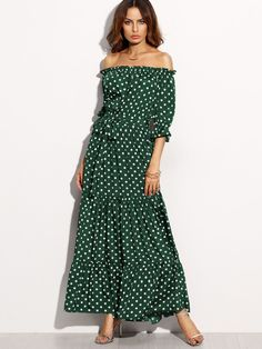 0b5455098a092 Polka Dot Bardot Neckline Tie Waist Dress -SheIn(Sheinside) Ruffle Sleeve,  Dress