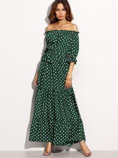 519744c15d Polka Dot Bardot Neckline Tie Waist Dress -SheIn(Sheinside) Ruffle Sleeve,  Dress