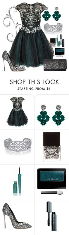 """""""Dark Green"""" by annetkor ❤ liked on Polyvore featuring Forever Unique, Lulu Frost, Bling Jewelry, Butter London, Barry M, Maybelline, Casadei, Bobbi Brown Cosmetics and Jessica McClintock"""