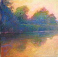 dusk slowly pours the syrup of darkness by Loriann Signori Pastel ~ 18 x 18