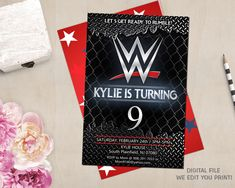 This item is unavailable Wrestling Birthday Parties, Wrestling Party, Wwe Birthday, Ninja Birthday, 6th Birthday Parties, Birthday Ideas, Birthday Cake, Swim Party Cupcakes, Cupcake Party