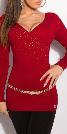 Модель 0000ISF129128-1, удлиненный пуловер с глубоким V-образным вырезом, украшенным стразами. Цвет: темно-красный, размер: 42-46 (один размер)