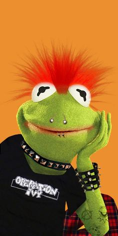 Punk rock kermit the frog this made me laugh out loud! Kermit And Miss Piggy, Kermit The Frog, Sapo Kermit, Frog Wallpaper, Sesame Street Muppets, Funny Frogs, Fraggle Rock, The Muppet Show, Frog And Toad