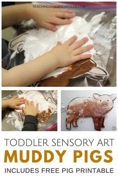 Add some sensory art to your toddler farm theme with this fun muddy pig activity! Comes with a free pig printable. Only requires 2 ingredients! #toddler #sensory #art #kidsactivity #farm