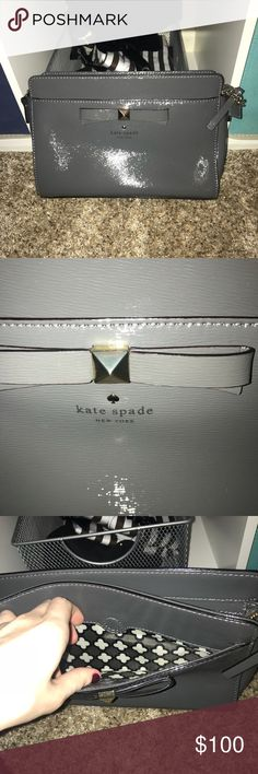 KATE SPADE GREY PATENT CROSS BODY BAG Excellent condition might as well be brand new! Dust bag included. Medium grey patent bag (easy to clean) with gold chain and hardware. kate spade Bags Crossbody Bags