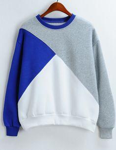 Shop Colour-block Round Neck Loose Crop Sweatshirt online. SheIn offers Colour-block Round Neck Loose Crop Sweatshirt & more to fit your fashionable needs.