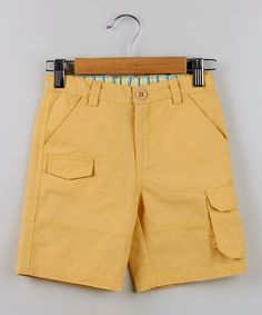 Beebay Yellow Twill Bermuda Shorts - Boys by Beebay #zulily #zulilyfinds