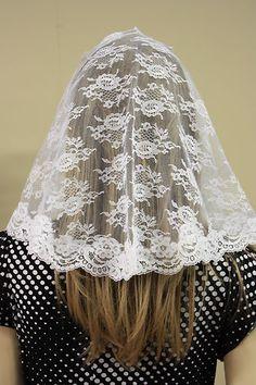 White Veil Mantilla Catholic Church Chapel Scarf Lace Headcovering Mass Latin WN | eBay